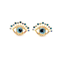 The Cats Pajama Blue Vision Gold Stud Earrings - $38.00