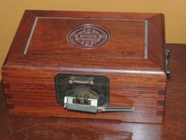 "Chinese Jewelry Box 9""x6""x3.75 wood wooden Bronze Brass Silk Lining dove... - $85.49"