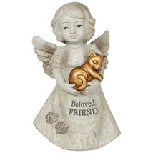 Angel Holding Cat Beloved Friend Kitten Pet Memorial Figurine - $13.09