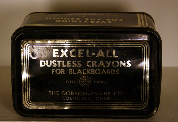 Vintage School Chalk Tin - Black & Silver w/some chalk