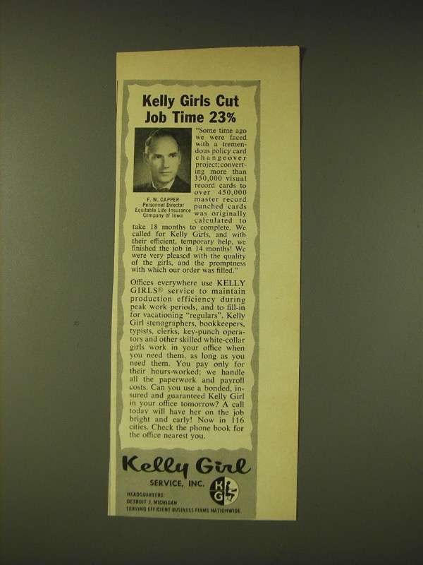 1960 Kelly Girl Ad - Kelly Girls cut job time 23%