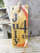 Hand Painted Rustic Wooden Red, White & Blue July 4th Artwork - Jute Hanger - $9.95