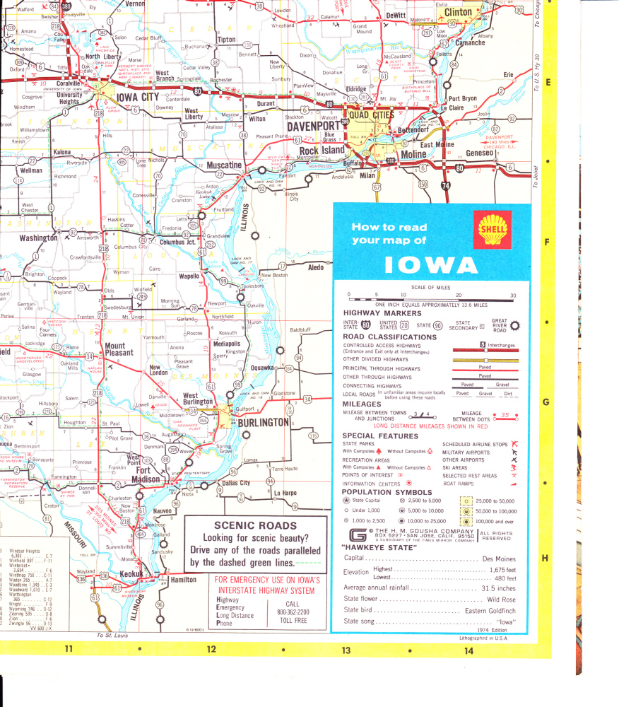Road Map for State of Iowa by Shell Oil and Dated 1974