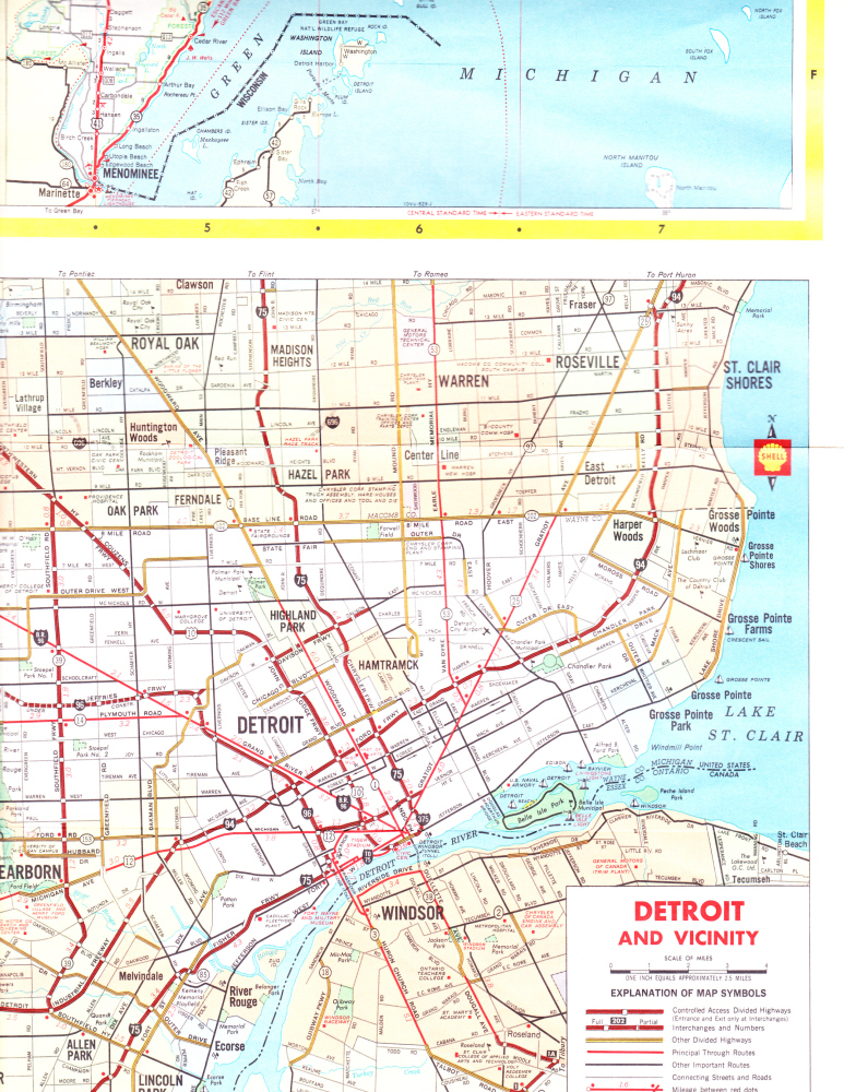 Road Map for State of Michgan by Shell Oil Dated 1974