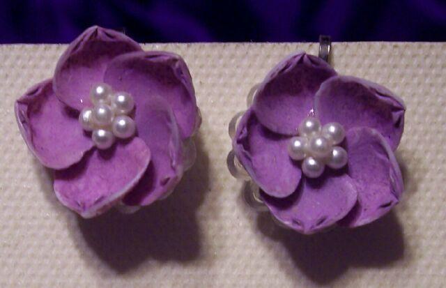 Vintage Mauve Shell & Pearl Earrings
