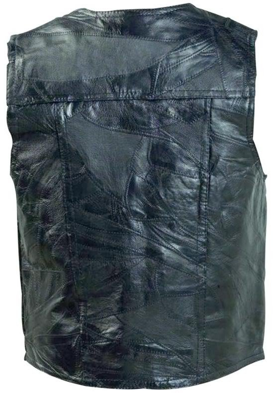 Mens Black Genuine Leather Lined Vest 5 Snap Front 2 Watch Pockets