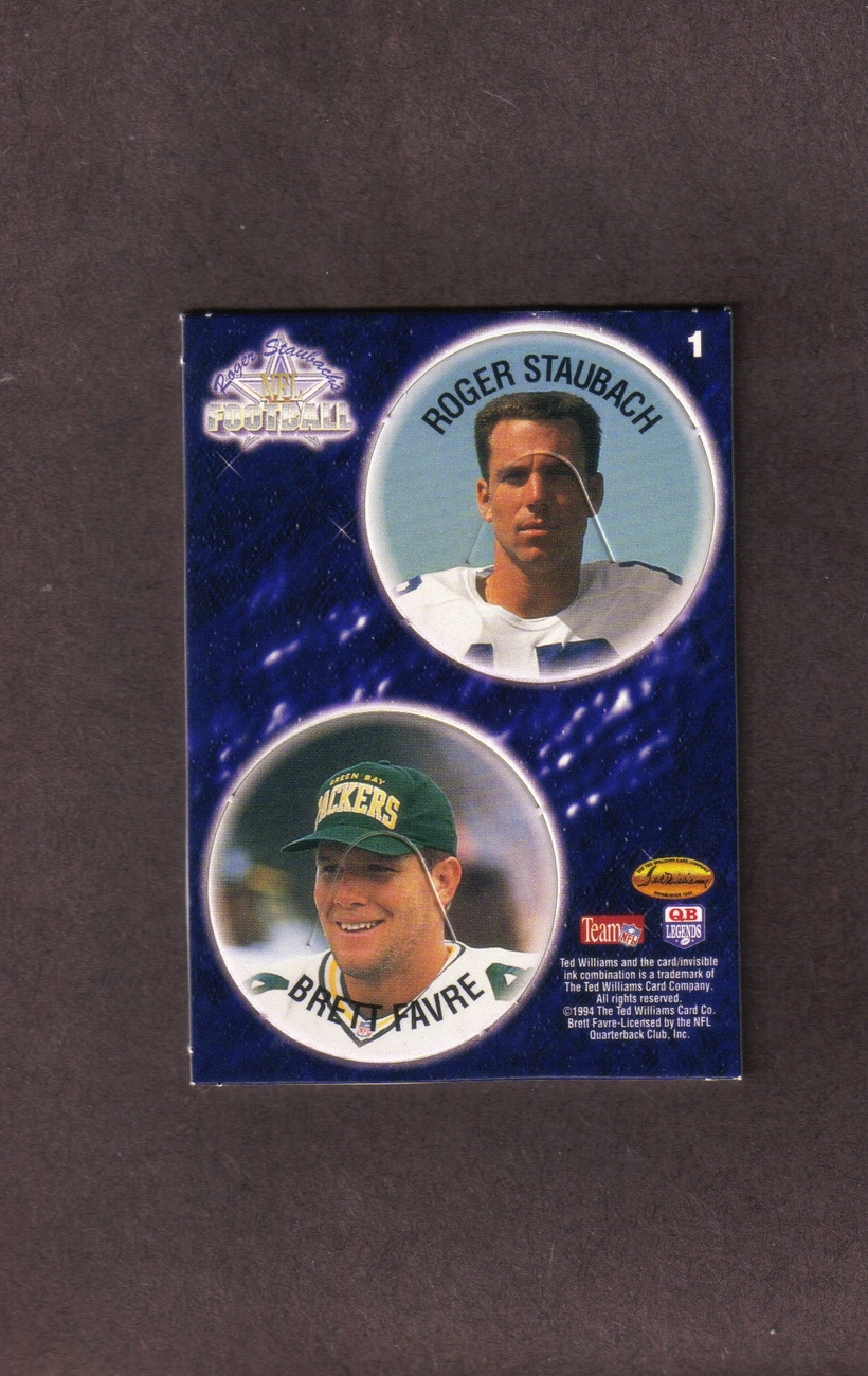 1994 Ted Williams Co. Insert # 1 Roger Staubach Brett Favre