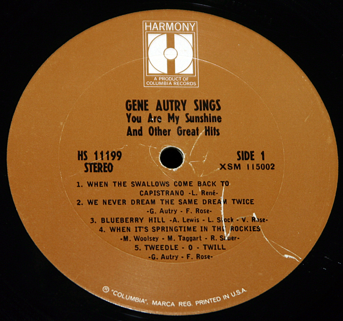 """Gene Autry """"You Are My Sunshine And Other Hits""""      LP"""