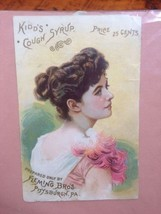 Antique 1888 Kidds Cough Syrup Fleming Bros Victorian Trade Card Adverti... - $16.99