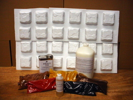 DIY PROJECT KIT MAKES 4x4x1.5 COBBLESTONE PAVERS W/24 PAVER MOLDS & ALL ... - $159.95