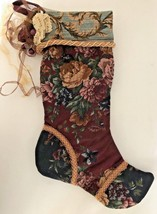 Vintage Maroon Floral Embellished Tapestry Lined Christmas Tree 18.5 in ... - $29.69