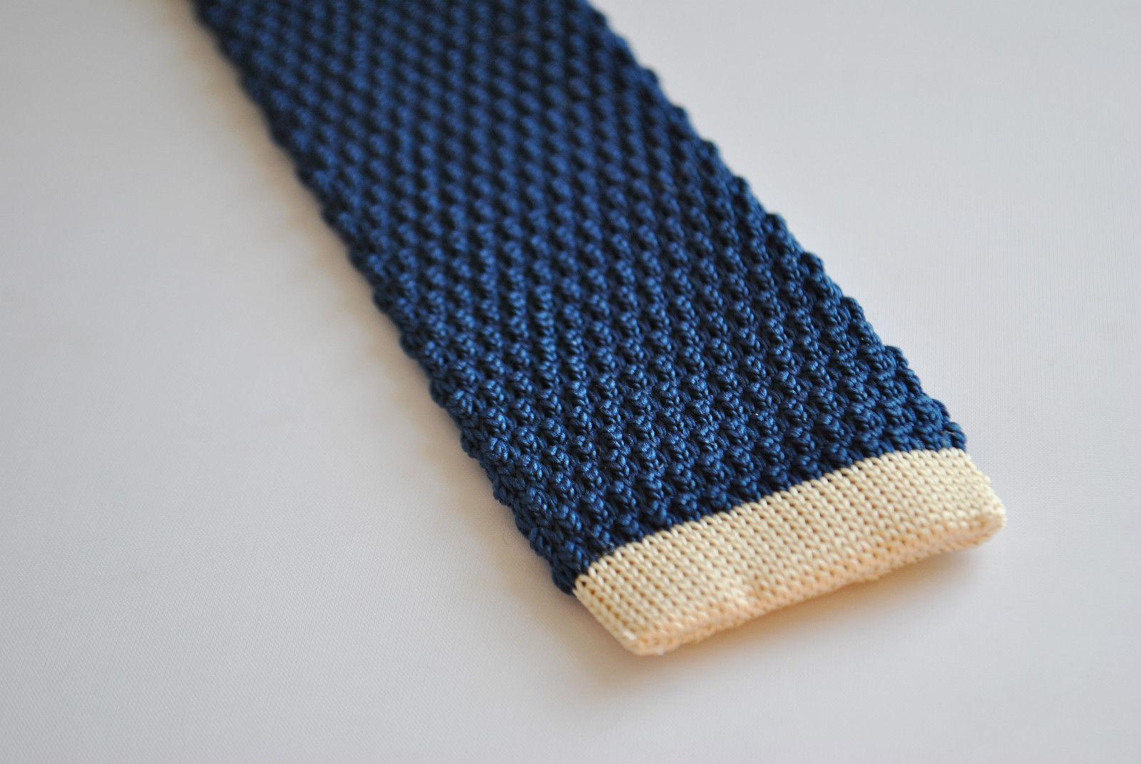 Frederick Thomas blu navy aderente maglia cravatta con AVORIO CREMA estremità