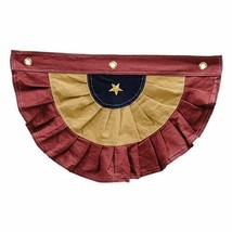 Americana Tea Burgundy & Gold Primitive Country Bunting Decor - $15.49