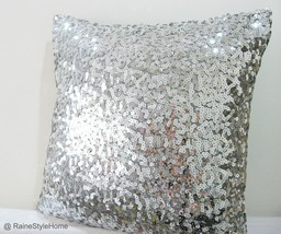 Modern Luxury Glamour. 17inch Silver Sequins Embellished Bling Pillow Co... - $39.90
