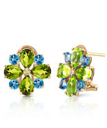 4.85 Carat 14K Solid Gold French Clips Earrings Peridot Blue Topaz - $346.27