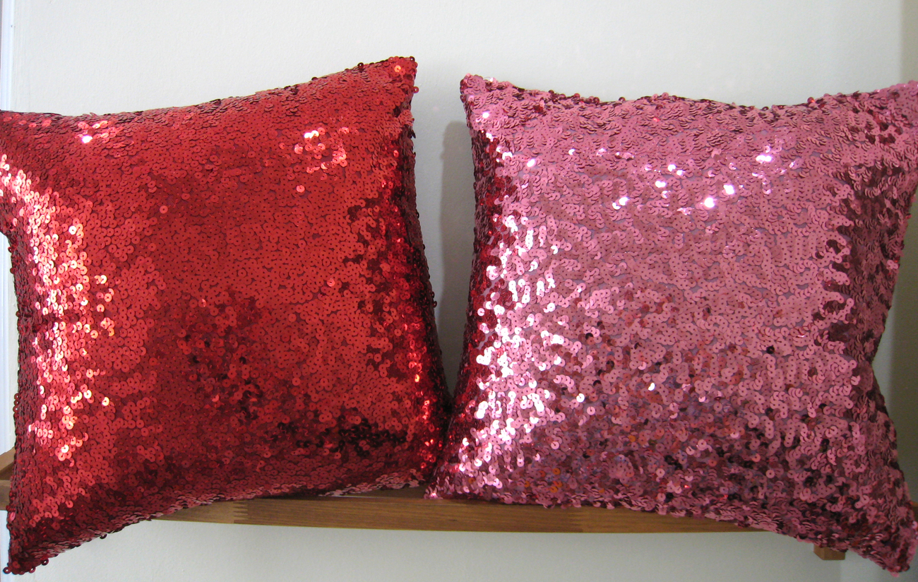 Modern Glam Pillows : Modern Luxury Glamour. 17inch Silver Sequins Embellished Bling Pillow Cover - Pillows