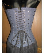 Versatile Dita Burlesque denim pin-up corset 22-26 VLV - $326.32