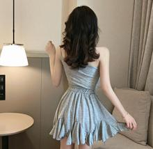 Solid color sexy off-the-shoulder personality unilateral sling skater dress image 10