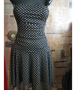 Polka dot ruche pin-up rockabilly strapless dress VLV S - $45.61
