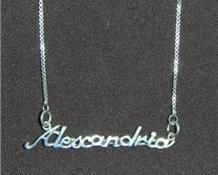 Sterling Silver Name Necklace - Name Plate - ALEXANDRIA