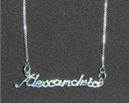 Sterling Silver Name Necklace - Name Plate - ALEXANDRIA - $54.00
