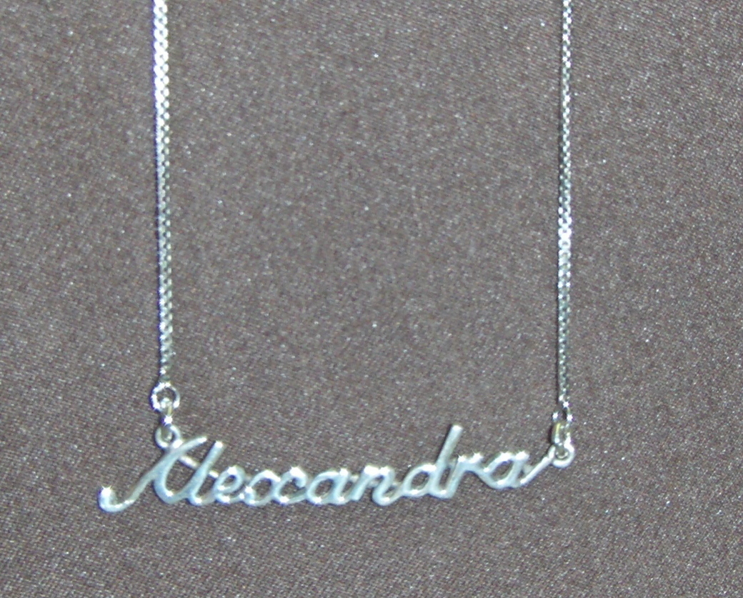 Sterling Silver Name Necklace - Name Plate - ALEXANDRA
