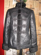 Asian Newport faux Mongolian lamb + leather jacket 8 - $138.97