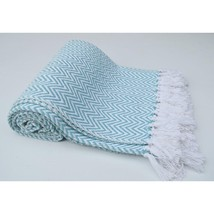Chevron Cotton Throw With Knotted Fringe Ends, Aqua Blue And White   CHN-CHTHROO