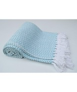 Chevron Cotton Throw With Knotted Fringe Ends, Aqua Blue And White   CHN... - $24.55