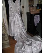Vintage 80s Princess Diana Wedding Dress Gown 5' train - $1,200.00
