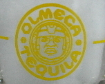 Olmeca Tequila Shot Glass Yellow Logo 2.5 ounce bubble base