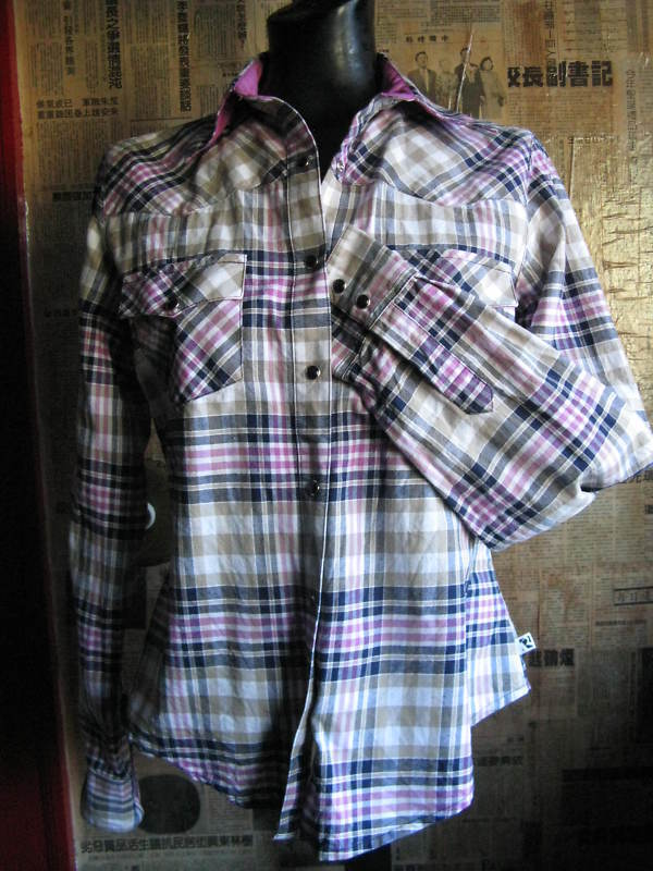 Primary image for Rockabilly Western Country plaid Stage shirt VLV S