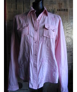 Rockabilly country western pink beads stage shirt VLV S - $35.33