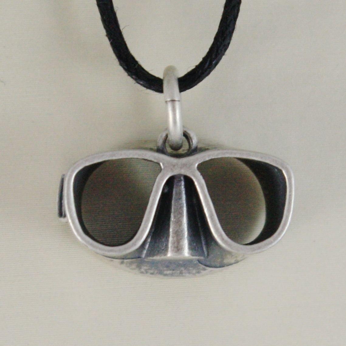 SOLID 925 STERLING SILVER SNORKELING MASK PENDANT BURNISHED SATIN MADE IN ITALY