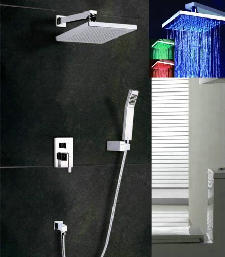 Primary image for Luxury 8-inch Rainfall Square 3 Color LED Shower Head +Valve Bathroom Wall Mount
