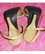MIA gold evening stilettos heels shoes sandals 6.5 - $44.53