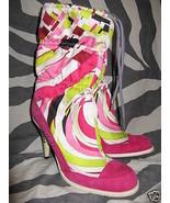 Pucci rhinestone silk high heel bling boots 7.5 37 UK5 - $832.44