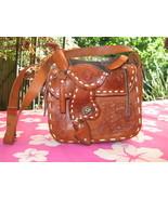 PinUp Girl rockabilly tooled leather saddle handbag VLV - $231.53