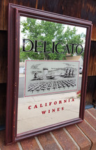 "Vtg DELICATO California Wines-18""x14""-Bar/Pub Mirror-Wood Frame-Grape Field - $37.39"
