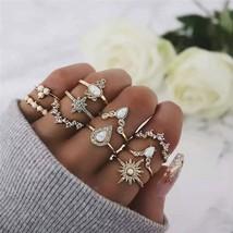 ZORCVENS Retro Gold Knuckle Rings Set For Women Vintage Geometric Rhinestone Boh - $10.44