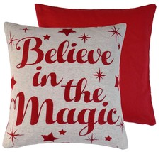 2 X Believe In The Magic Red Cream Woven Chenille Cushion Covers - $13.70