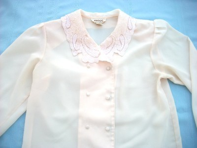 WOMEN MIKADO PEACH SHIRT EMBROIDERED M MED L LARGE