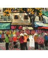 "Flower Market at Lunar New Year, 24""x32"" Vietnamese oil painting - $350.00"