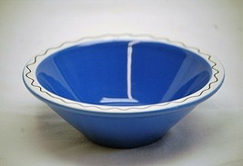 "Summer Salsa Blue Cereal or Sauce Bowl w White Zig Zag Trim 6"" China - $12.86"