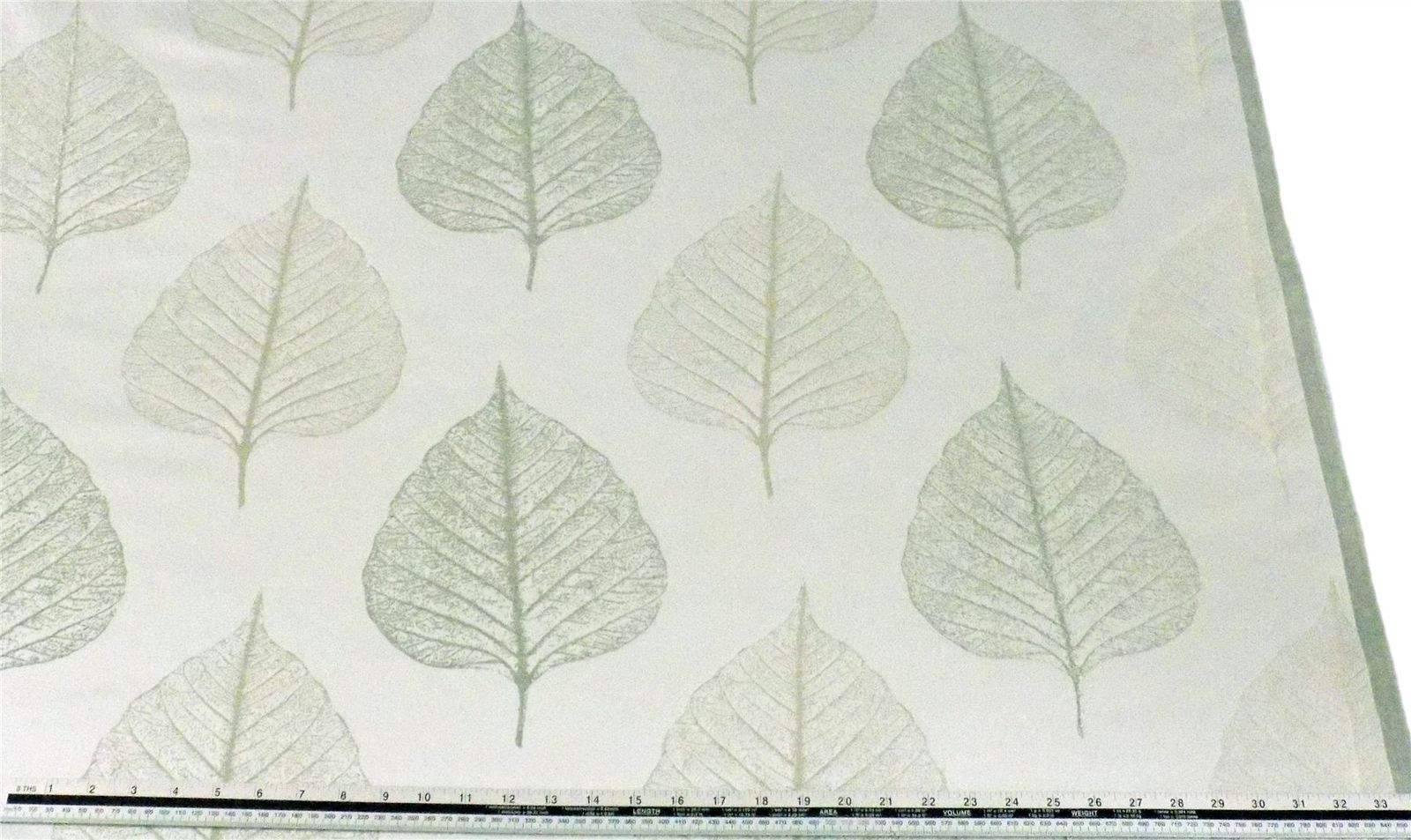 Slub Effect Silver Cream Embroidered Leaf Leaves Fabric Material *2 Sizes*