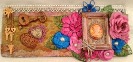 "Mixed media assemblage on board ""Reminisce"" by Deboriah 12x5 - $30.00"