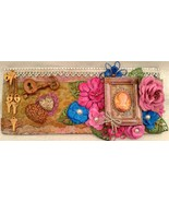 """Mixed media assemblage on board """"Reminisce"""" by Deboriah 12x5 - $30.00"""
