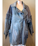 Vintage Real Leather Women's Fringed Blue Coat Parka Size XL Western - $99.99
