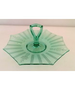 Vaseline Green Center Handle Etched Snack Tray  - $42.00