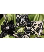 Damask Black and Ivory Pillow, Garter Set, Basket, Guest Set - $126.95